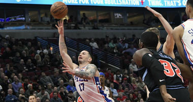 Philadelphia 76ers guard JJ Redick (17) shoots the ball against the Chicago Bulls during the first half of an NBA basketball game Wednesday, March 6, 2019, in Chicago.