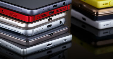 Stack of smart phones
