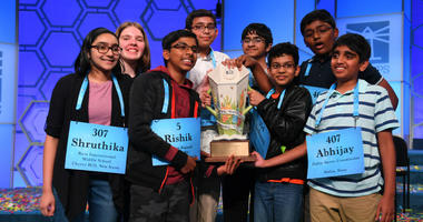 Rishik Gandhasri, Erin Howard, Saketh Sundar, Shruthika Padhy, Sohum Sukhatankar, Abhijay Kodali, Christopher Serrao and Rohan Raja are all announced as winners during the 2019 Scripps National Spelling Bee at Gaylord National Resort and Convention Center
