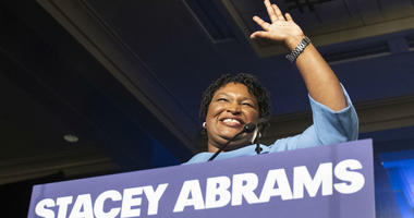 Georgia Democratic gubernatorial candidate Stacey Abrams speaks to supporters about a suspected run-off during an election night watch party, Tuesday, Nov. 6, 2018, in Atlanta.