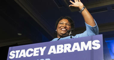 In this Nov. 6, 2018, file photo, Georgia Democratic gubernatorial candidate Stacey Abrams speaks to supporters about a suspected run-off during an election night watch party in Atlanta.