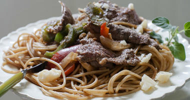 This June 9, 2014 file photo shows a dish of steak and cheese pasta in Concord, N.H.