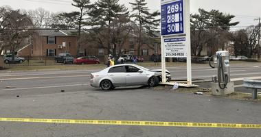 This is one of the cars involved in an accident on Street Road in Bensalem.
