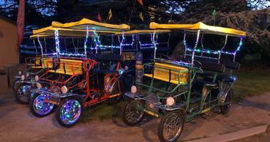 Lit up surreys available to ride at night this summer at Wheel Fun Rentals