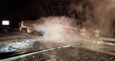 An overnight tanker truck fire has shut down a five-mile stretch of the Atlantic City Expressway.