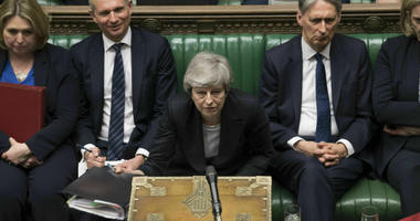 In this image made available by UK Parliament, Britain's Prime Minister Theresa May speaks during Prime Minister's Questions in the House of Commons, London, Wednesday, May 22, 2019.