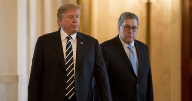 President Donald Trump and Attorney General William Barr arrive for a Public Safety Officer Medal of Valor presentation ceremony in the East Room of the White House in Washington, Wednesday, May 22, 2019.