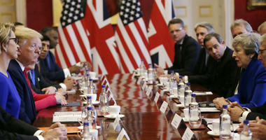 U.S President Donald Trump, center left, and British Prime Minister Theresa May, center right, attend a business roundtable event at St. James's Palace, London, Tuesday June 4, 2019.
