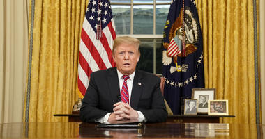 President Donald Trump speaks from the Oval Office of the White House as he gives a prime-time address about border security Tuesday, Jan. 8, 2018, in Washington.