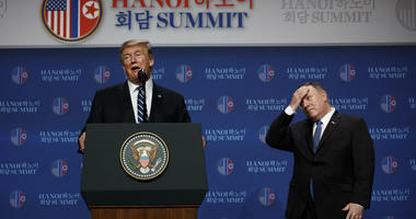 President Donald Trump speaks as Sec of State Mike Pompeo looks on during a news conference after a summit with North Korean leader Kim Jong Un, Thursday, Feb. 28, 2019, in Hanoi.