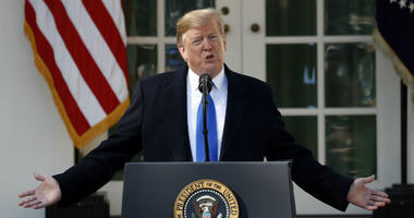 President Donald Trump speaks during an event in the Rose Garden at the White House Friday, Feb. 15, 2019 in Washington.