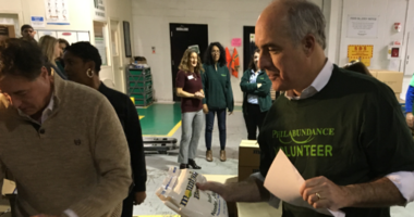 Still campaigning? Fresh from re-election, Sen. Bob Casey packed boxes at Philabundance and did not rule out a run for higher office