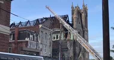 Church fire chars roof