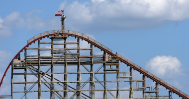 A view of The Texas Giant roller coaster at Six Flags Over Texas on July 22, 2013 in Arlington, Texas. A woman fell to her death after falling out of the 14-story-high roller coaster on Friday July, 19, 2013