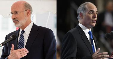 Left: Gov. Tom Wolf, August 2018. Right: Sen. Bob Casey speaks at the 2016 Democratic National Convention.