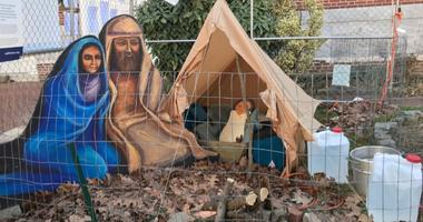 The Old First Reformed United Church of Christ has replaced its traditional live animal nativity scene with a refugee tent.