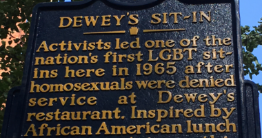 A new historic marker on Monday commemorating a 1965 lunch counter sit-in for LGBTQ rights.