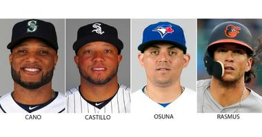 From left are 2018 file photos showing Robinson Cano, Welington Castillo, Roberto Osuna and Colby Rasmus.