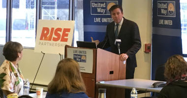 United Way President and CEO Bill Golderer speaks about the RISE Partnership, Jan. 15, 2019.