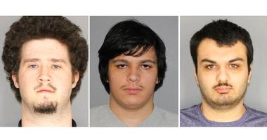 This combination of three Jan. 22, 2019, photographs released by the Greece Police Department in Greece, N.Y., shows Brian Colaneri, from left, Andrew Crysel and Vincent Vetromile.