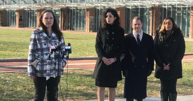 Amanda Spillane (left) speaks at Independence Hall during a press conference discussing a lawsuit she and Courtney Haveman filed against the state for denying them cosmetology licenses.