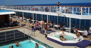 The pool deck of a cruise ship