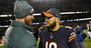 Chicago Bears quarterback Mitchell Trubisky (10) greets Philadelphia Eagles quarterback Carson Wentz (left) after a NFC Wild Card playoff football game at Soldier Field.