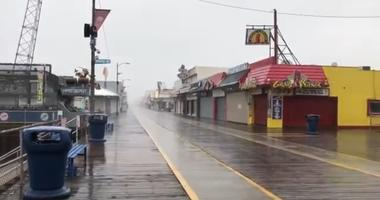 The Wildwood board walk is receiving rains on the outer edge of Hurricane Dorian.