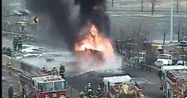 Crews working to extinguish this fire on Woodhaven Rd ramps at the North 95 ramps
