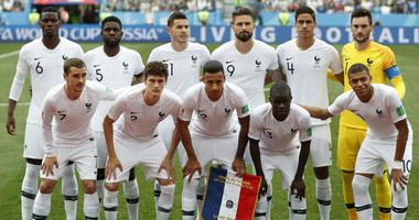 France's starting players pose for a team photo at the beginning of he quarterfinal match between Uruguay and France at the 2018 soccer World Cup in the Nizhny Novgorod Stadium, in Nizhny Novgorod, Russia.