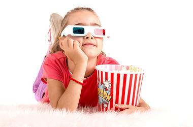 Kid watching movie
