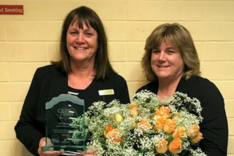 January CARE Award Winner Gail McLaurin from Jerebek Elementary School (left) pictured with her nominator, Kristie Joiner (left)