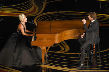 "Lady Gaga, left, and Bradley Cooper perform ""Shallow"" from ""A Star is Born"" at the Oscars on Sunday, Feb. 24, 2019, at the Dolby Theatre in Los Angeles. (Photo by Chris Pizzello/Invision/AP)"