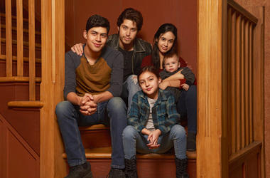 "This image released by Freeform shows the cast of ""Party of Five,"" Niko Guardado as Beto Buendia, left, Brandon Larracuente as Emilio Buendia, Elle Paris Legaspi as Valentina Buendia, foreground right, and Emily Tosta as Lucia Buendia. The reboot of the 1"