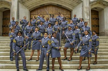 In this May 7, 2019 photo, black female cadets with the Class of 2019 pose at the U.S. Military Academy in West Point, N.Y. The 34 women comprise a small slice of the roughly 1,000 cadets in the class. The cadets say they're proud to be part of a mileston