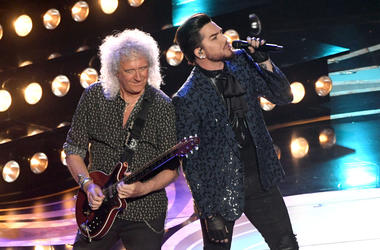Adam Lambert (L) and Brian May of Queen perform onstage during the 91st Annual Academy Awards at Dolby Theatre on February 24, 2019 in Hollywood, California