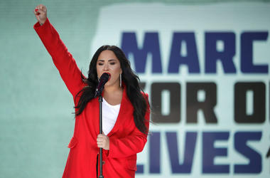 Demi Lovato performs 'Skyscraper' during the March for Our Lives rally on March 24, 2018 in Washington, DC