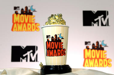 APRIL 9: The 2015 MTV Movies Awards' Golden Popcorn trophy is displayed during MTV Movie Awards press junket April 9, 2015, in Los Angeles, California. (Photo by Kevork Djansezian/Getty Images for MTV)
