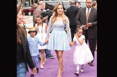 Recording Artist/actress Jennifer Lopez (C) and son Maximilian David Muniz (L) and daughter Emme Maribel Muniz (R) arrive at Twentieth Century Fox And Dreamworks Animation's 'Home' Premiere at Regency Village Theatre on March 22, 2015 in Westwood, Califor