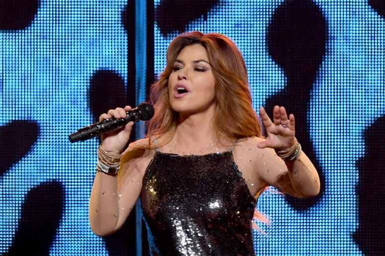 Shania Twain performs at the Staples Center on August 3, 2018 in Los Angeles