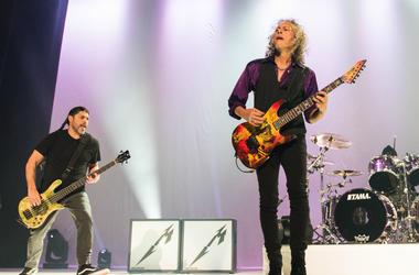 Kirk Hammett and Robert Trujillo of Metallica perform at the Fox Theater in 2016