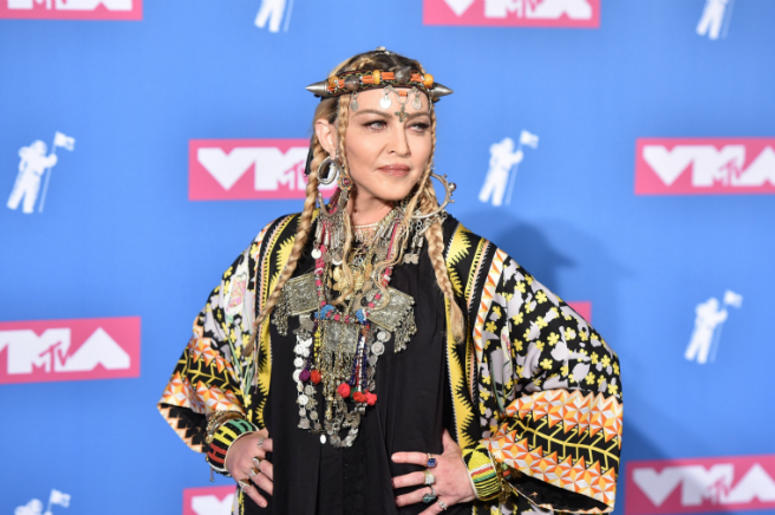 Madonna poses in the press room at the 2018 MTV Video Music Awards