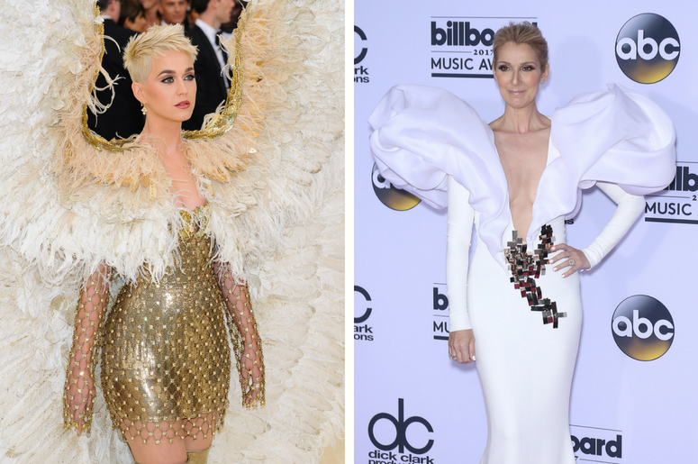 """Katy Perry. 2018 Metropolitan Museum of Art Costume Institute Gala: """"Heavenly Bodies: Fashion and the Catholic Imagination. / Celine Dion. 2017 Billboard Music Awards Press Room at T-Mobile Arena."""