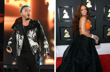 LOS ANGELES, CA - May 7: (L-R) Singer J Balvin performs on the 2017 MTV Movie & TV Awards at the Shrine Auditorium. / Feb 12, 2017; Los Angeles, CA, USA; Rihanna arrives at the 59th Annual Grammy Awards at Staples Center.