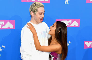 Pete Davidson and Ariana Grande attends the 2018 MTV Video Music Awards at Radio City Music Hall on August 20, 2018 in New York City.