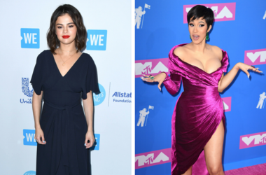 19 April 2018 - Los Angeles, California - Selena Gomez. WE Day California To Celebrate Young People Changing The World held at The Forum. / 8/22/2018 - Cardi B arriving at the MTV Video Music Awards 2018, Radio City, New York.