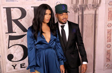 Kirsten Corley and Chance the Rapper attend the Ralph Lauren fashion show during New York Fashion Week at Bethesda Terrace on September 7, 2018