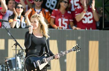 Sep 10, 2015; San Francisco, CA, USA; Ellie Goulding performs during a NFL Super Bowl 50 kickoff concert at Justin Herman Plaza