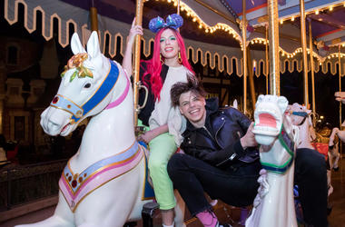 Singer Halsey and musician Yungblud ride on King Arthur Carrousel at Disneyland Park on February 22, 2019 in Anaheim, California
