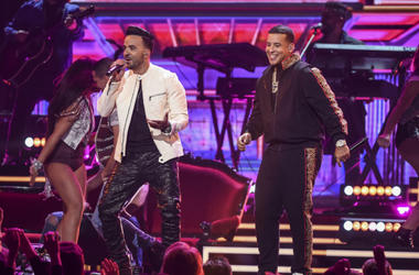 Luis Fonsi and Daddy Yankee appear on the 60th Annual Grammy Awards at Madison Square Garden on January 28, 2018 in New York City.